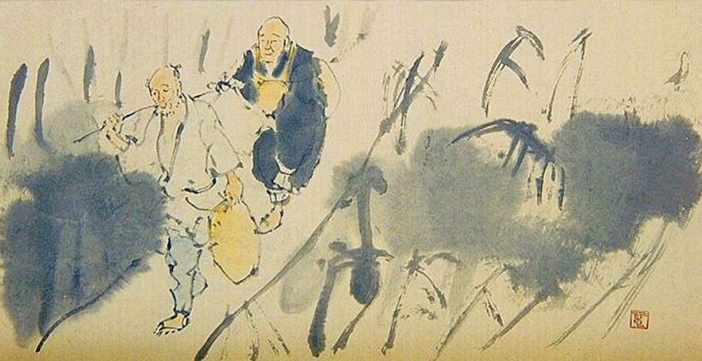 Japanese painting two guys walking