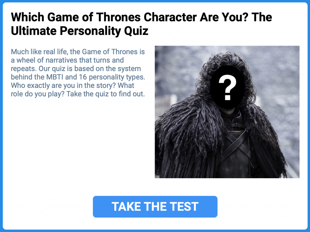 Jon Snow Game of Thrones MBTI Personality Test Quiz